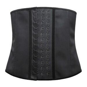Image 4 - נשים Shapewear נוסף חזק לטקס מותניים מאמן אימון שעון חול חגורת מותן Cincher גוזם ארוך טורסו Fajas 9 פלדת עצם