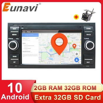 Eunavi Android 10 GPS Car Radios 2 Din Car Multimedia Audio For Ford Mondeo S-max Focus C-MAX Galaxy Fiesta Form Fusion NO DVD image