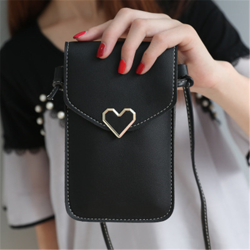 Women's Heart-shaped Decorative Transparent Touch Screen Simple Retro Mobile Phone Bag 2019 New Student Mobile Phone Packet