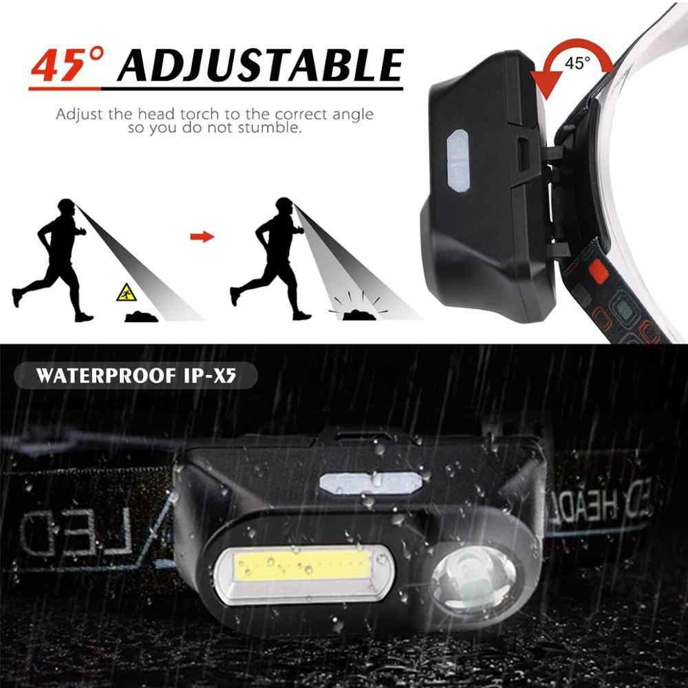 3800LM Leistungsstarke XPE + COB Scheinwerfer USB Aufladbare Scheinwerfer Outdoor Camping USB Kopf Licht Wasserdichte Kopf Lampe durch 18650 Batterie