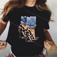 Женские летние топы футболки с леопардовым принтом женская черная