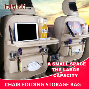 Image 1 - Couro do plutônio saco de almofada assento de carro volta organizador dobrável mesa bandeja de armazenamento de viagem dobrável mesa de jantar assento de carro saco de armazenamento