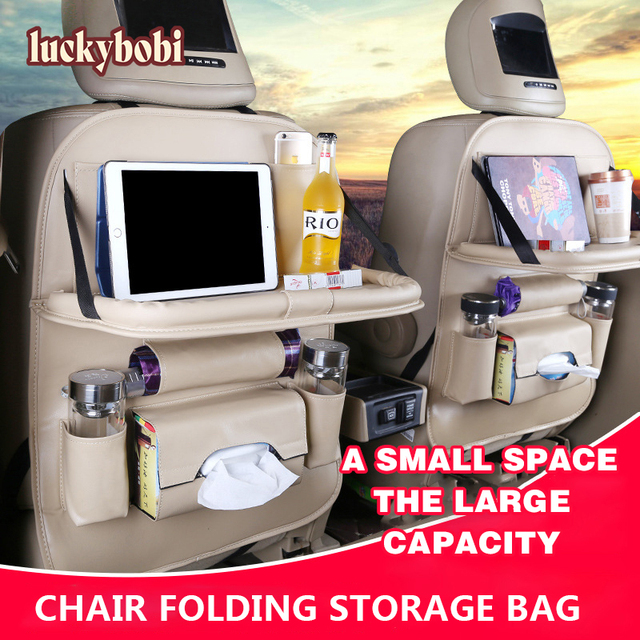 Couro do plutônio saco de almofada assento de carro volta organizador dobrável mesa bandeja de armazenamento de viagem dobrável mesa de jantar assento de carro saco de armazenamento