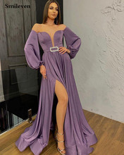 Smileven Formal Evening Dress Off The Shoulder Side Split saudi arabia Prom Evening Party Dress Off  Shoulder With Crystal Sash two tone oblique shoulder split dress