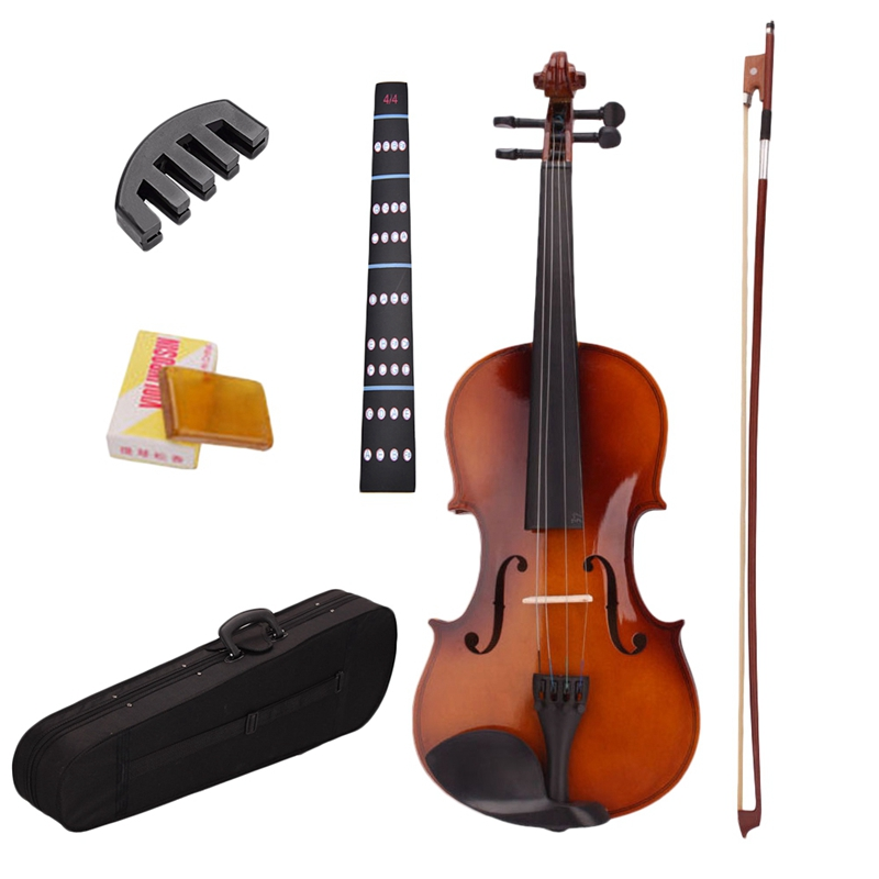 4/4 Full Size Natural Acoustic Violin Fiddle With Case Bow Rosin Mute Stickers Solid wood Violin for music lovers-0