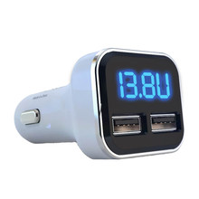 4.8A Voltage Monitoring Fast Accessories Mobile Phone Car Charger Socket Dual USB LED Display Mini Universal Adapter Convenient(China)