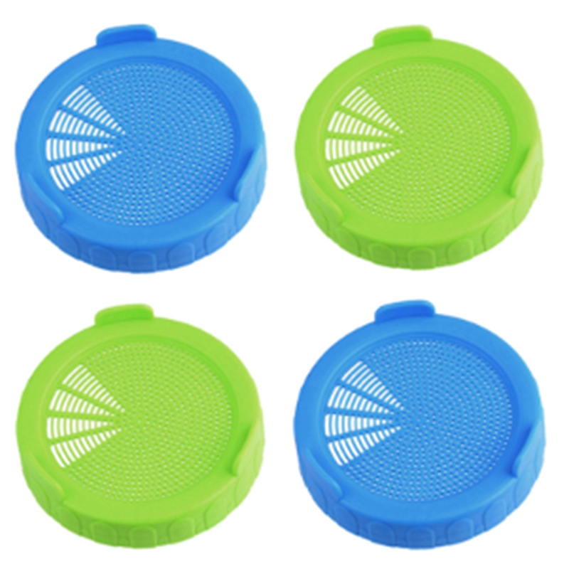 4Pcs Sprouting Lids Food Grade Mesh Sprout Cover Kit Seed Growing Germination Vegetable Silicone Sealing Ring Lid for Mason Jar