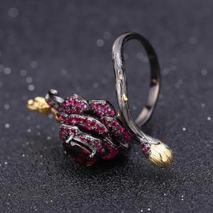 Image 4 - Gemmes BALLET en argent Sterling 925, 1,00 ct, bague ouverte en Rhodolite naturelle, fleur de Rose, Bijoux pour femmes, bague ajustable, fait à la main