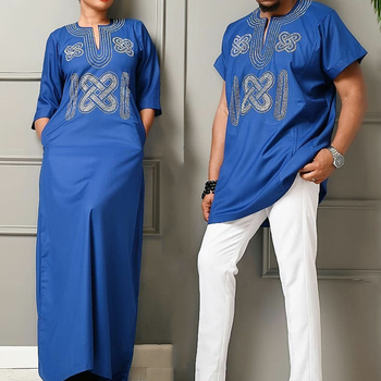 H&D South Africa Couple Clothes African Dresses For Men And Women Dashiki Embroidery Clothing Short Sleeve T-shirt Ankara Dress 1
