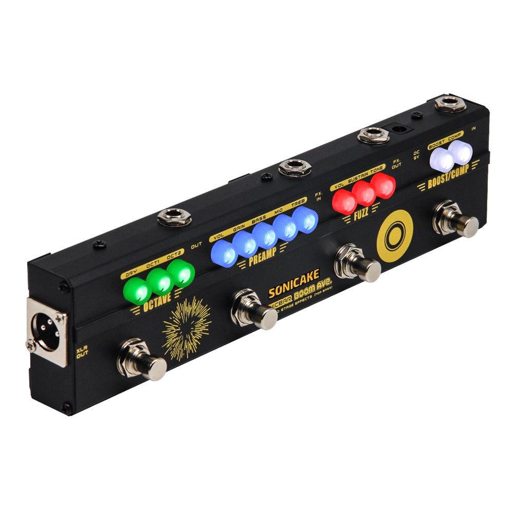 SONICAKE BOOM Ave. basse préampli DI Box Multi effets compresseur Boost Fuzz Octave pédale avec FX boucle QCE-40
