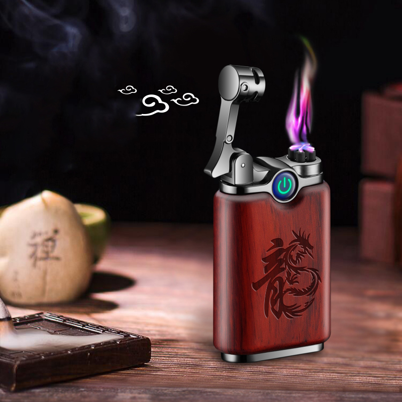 Plasma Wood USB Lighter Chinese Style Double Arc Usb Charge For Cigarette Smoking