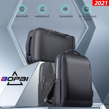 BOPAI Männer Business Rucksack 15,6 inchs Büro Arbeit Männlichen Rucksack USB-lade Schlank Laptop tasche Wasserdichte Reise Schultern Tasche