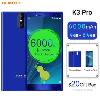 "OUKITEL K3 Pro 4G RAM 64G ROM Smartphone Android 9.0 Pie MT6763 Octa Core 5.5"" FHD Big Screen 6000mAh Face ID 9V/2A Mobile Phone"