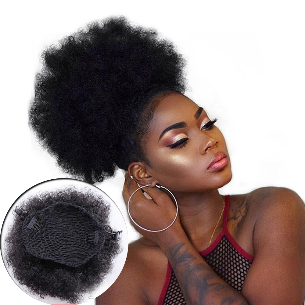 8inch Afro Puff Synthetic Hair Bun Chignon Hairpiece For Women Wig Drawstring Ponytail Kinky Curly Clip in Extensions Pony Tail