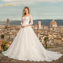 Wedding-Dresses Bridal-Gowns Train Lace Loverxu Appliques Sweep Elegant Vintage Scoop Neck