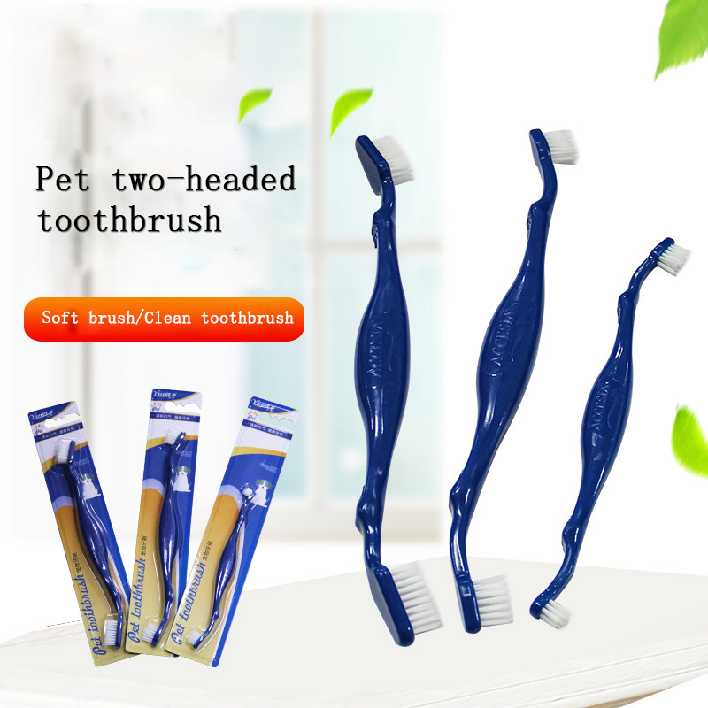 1Pc 2019 New Pet Cat Dog Tooth Brush Dental Care for Pet Double Heads Toothbrush Mouth Cleaning Toothbrushes Dogs Puppy Brushes image