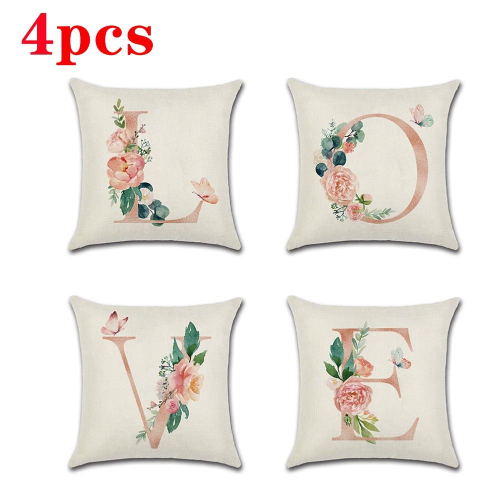 4Pcs Pillow Set cushion cover Printing Linen Cushion car sofa throw pillows pillowcase home decorative living