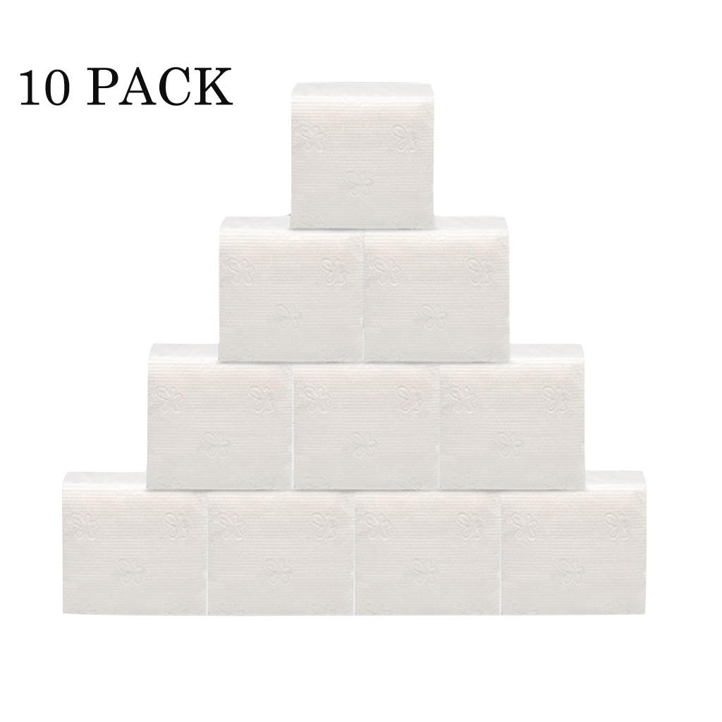 Toilet Paper Toilet Roll Tissue Roll Pack 10 Pack White Paper Hand Towels Pack Of 60 Sheet Tissues Napkin Toilet Paper ##0