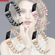 OULUCCI الماس ل Fitbit تهمة 3 الفرقة حزام معدني الفولاذ المقاوم للصدأ استبدال fitbit تهمة 3 سوار النساء