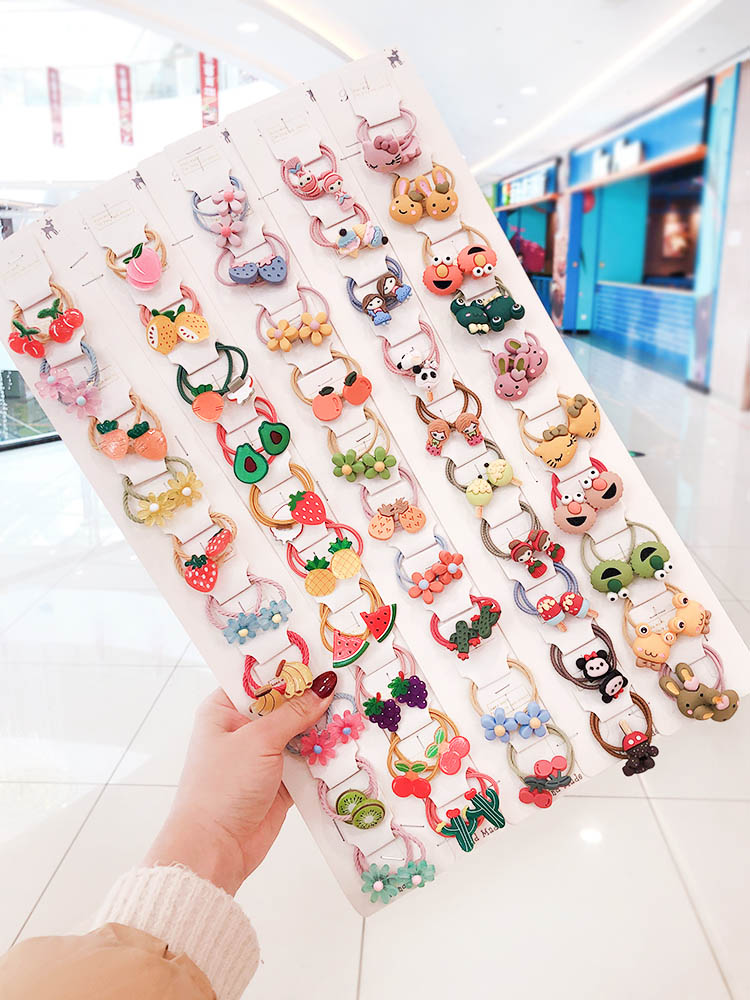 1 Set New Children Cute Cartoon Fresh Fruit Flower Elastic Hair Bands Girls Lovely Smiley Rubber Bands Kids Hair Accessories