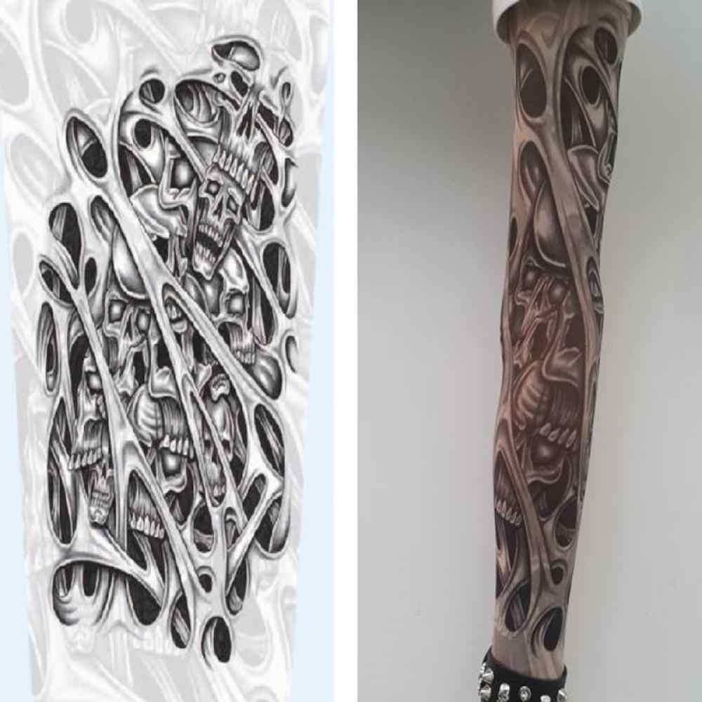 Sıcak 1 adet cilt Proteive naylon sıkı sahte geçici dövme kollu kol çorap tasarım vücut serin erkekler Unisex moda kol isıtıcı