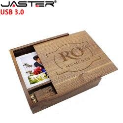 JASTER drewniane ramka na zdjęcia Album usb + pudełko pamięć usb 3.0 Pendrive 4GB 16GB 32GB 64GB fotografia prezent ślubny (170mm * 170mm * 35mm)