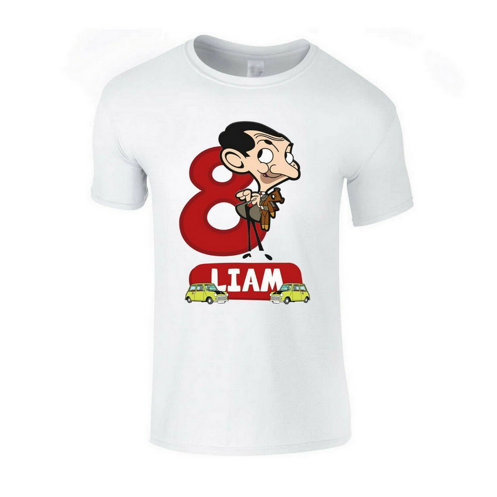Personalised Name & Age Mr Bean Funny Car <font><b>Cartoon</b></font> Mens Girls Boys Unisex T-Shirt Birthday Gift Tops TEE Shirt image