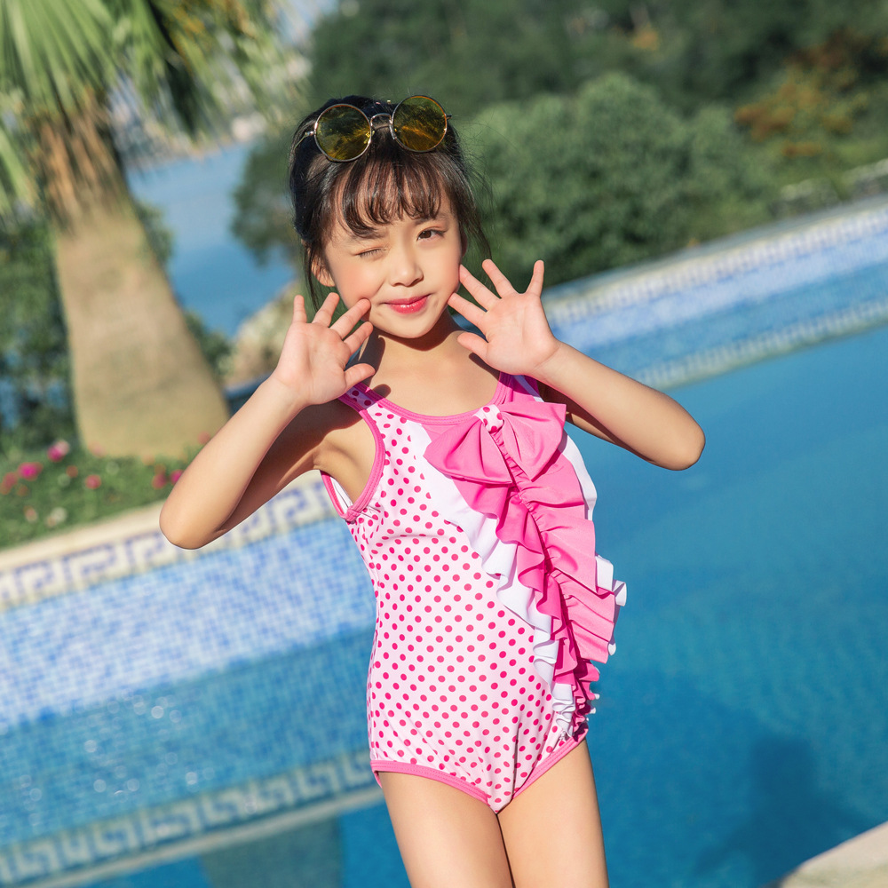 New Style Baby Girls Hot Springs Loli Swimwear Bow Children Siamese Swimsuit