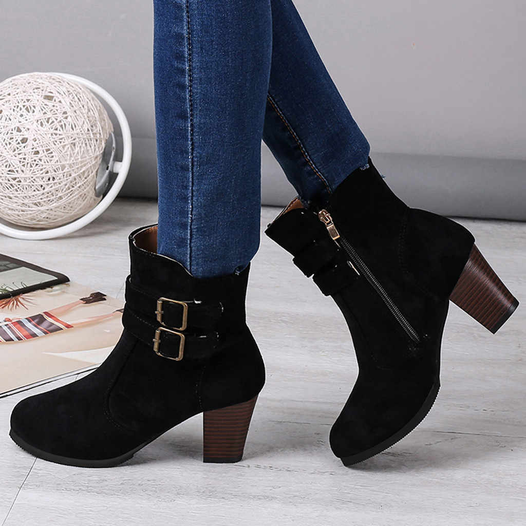 Cinturón hebilla Correa botas mujeres Roma cremallera lateral tacones gruesos botas de tobillo para mujer talla grande zapatos de invierno mujer botas mujer