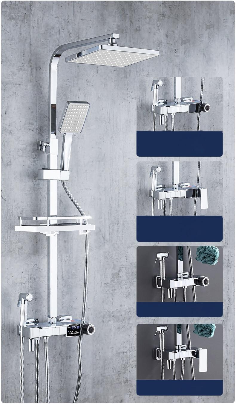 Hccf58a41e4c5472fae03afd0b1eddb02V Piano Digital Bathroom Shower Set SDSN 12 Inch Rainfall Shower Head Solid Brass Bathroom Faucets Matte Black Thermostatic Shower