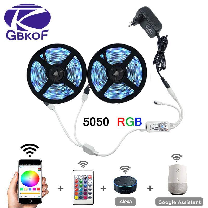 5m 10m 15m WiFi LED Streifen Licht RGB Wasserdichte SMD 5050 2835 DC12V rgb String Diode Flexible band WiFi Contoller + Adapter stecker