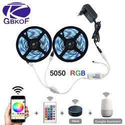 5m 10m 15m WiFi LED bande lumière RGB étanche SMD 5050 2835 DC12V rgb chaîne Diode ruban Flexible WiFi Contoller + adaptateur prise