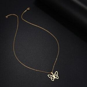 DOTIFI, ожерелье из нержавеющей стали для женщин и мужчин, полое колье с бабочками, кулон, ожерелье, подарок, обручальное ювелирное изделие