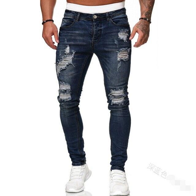 Adisputent-pantalones de chándal Sexy para hombre, vaqueros con agujeros, informales, rasgados, ajustados, para verano y otoño 3