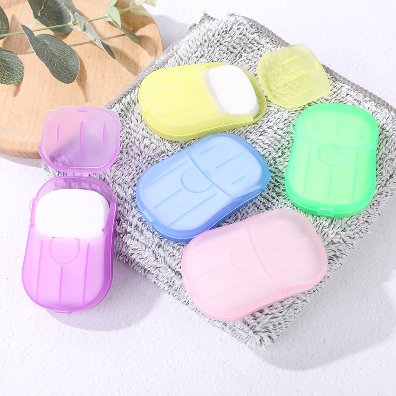 2Packs Disposable Soap Paper Travel Boxed Portable Hand Washing Box Scented Slice Sheets Mini Soap Paper Outdoors Clean Tools 1