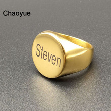 Name-Rings Personalized Jewelry Engraved Gift Engagement Stainless-Steel Male Round Anniversary