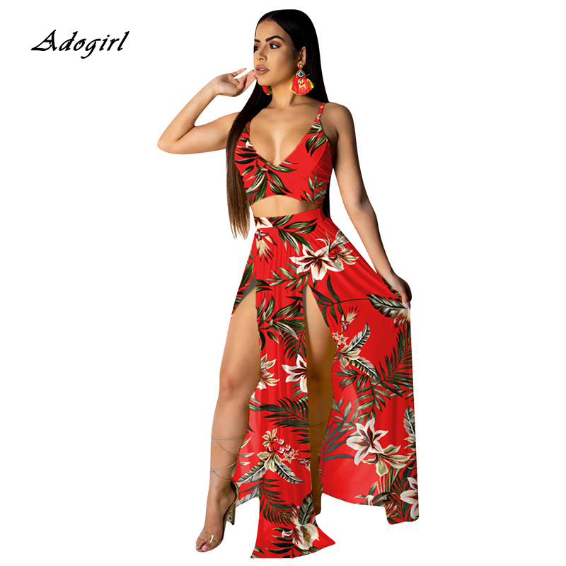 Boho Floral Print Summer Beach Two Piece Set Sexy V Neck Spaghetti Strap Vest Crop Top + High Slit Long Skirts Outfit Plus Size
