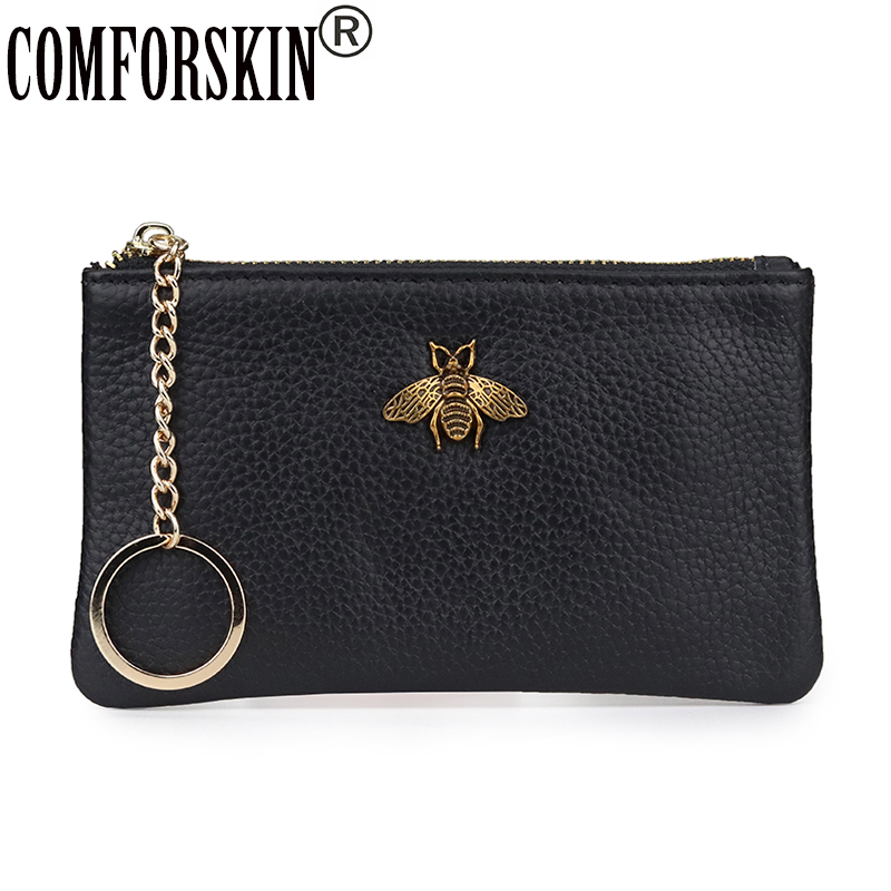 COMFORSKIN New Arrivals 100% Genuine Leather Slim Coin Purse Animal Prints Key Wallet Mini Women Wallet Hot Sales Zipper Purse