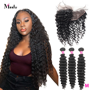 Meetu Deep Wave Bundles with Frontal 100% Human Hair Bundles with Closure Frotal Brazilian Hair 3 Bundles with Frontal Non Remy