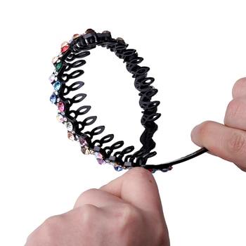 Unisex Alice Hairband Bezel Headband Men Women Sports Hair Band Hoop Top Metal Double Bangs Flower Rhinestone Hair Accessories 5