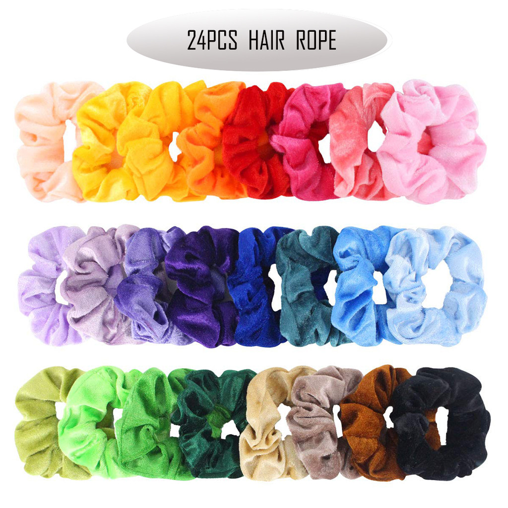 Bands Scrunchies Hair-Accessories Velvet For Large Ties YJJ1 24pcs Colorful