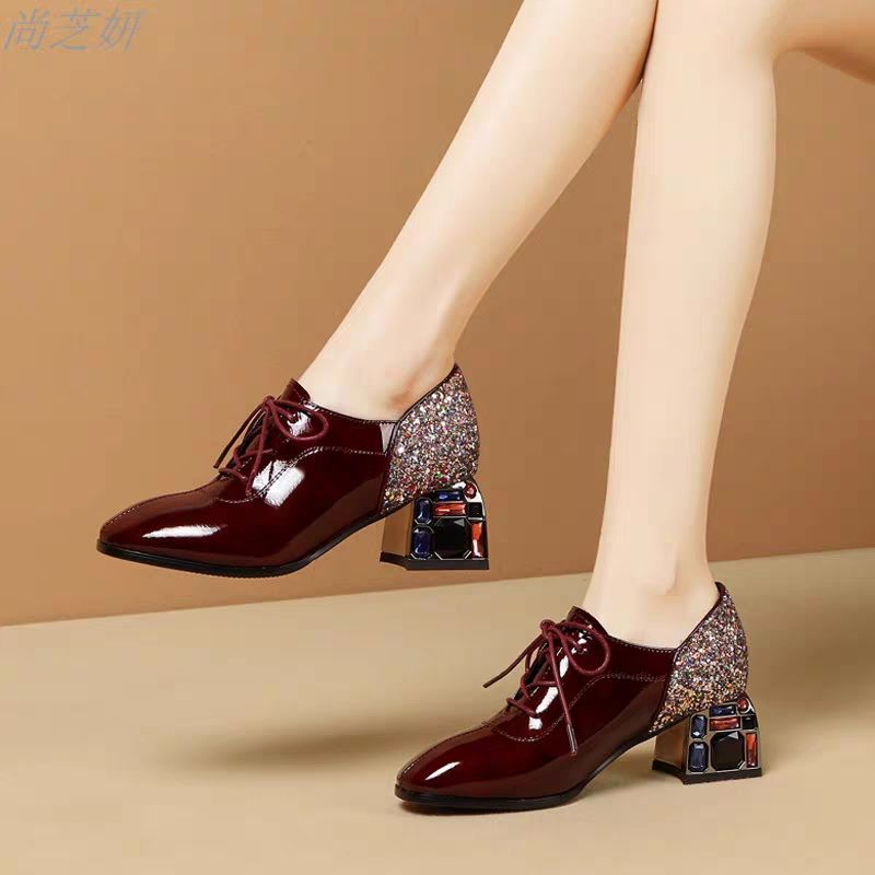2020 Spring New Women's Shoes Lace-up Woman MID Heels Pointed Toe Pumps Female Fashion British Style Shoes Rhinestone Heel Black
