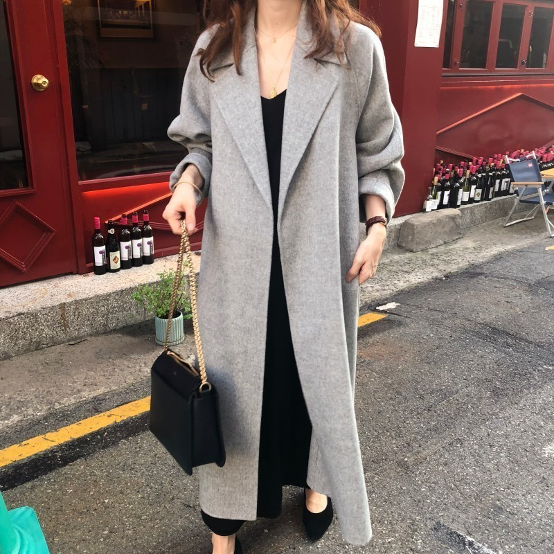 Hccf613a7e12d4e45a4304f58a6e3684bG Winter Fashion Coats Women Wool-blend Coat Lazy Oaf Long Chunky Warm Coat Western Style Fitted Waist Lace-up  Loose Coat