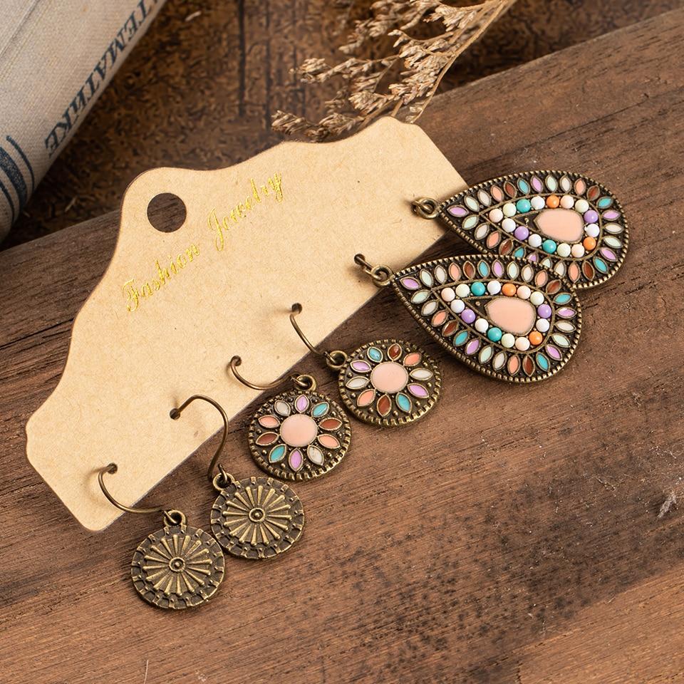 Multiple 3 Pairs Drop Earrings Set for Women Boho Vintage Bohemian Ethnic Dangle Handmade Hanging Earrings Jewelry 2019 Gift