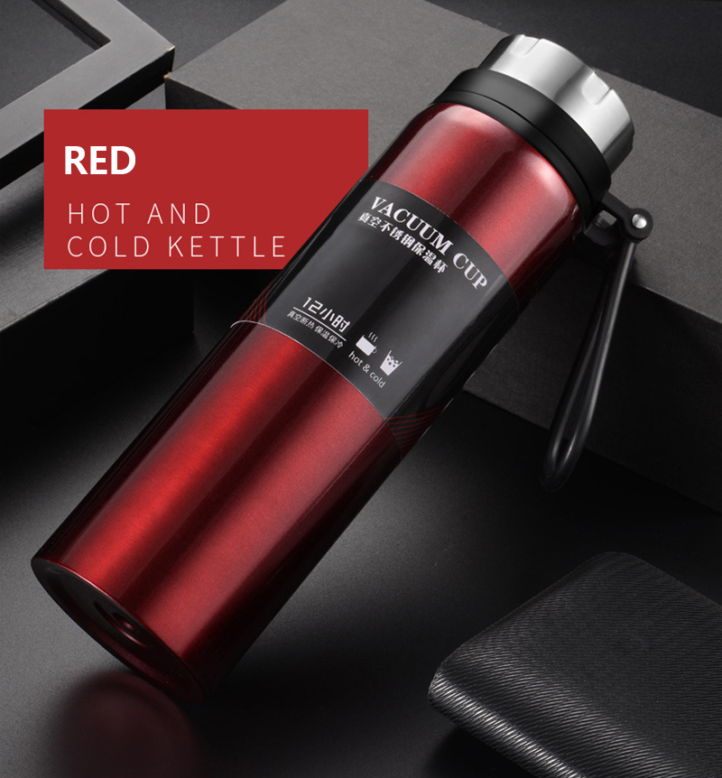 Hccf6222f70204f96b6e13610ce983ca6l Sports bottle 800ML / 1000ML large capacity double stainless steel thermos outdoor travel portable leak-proof car vacuum flask