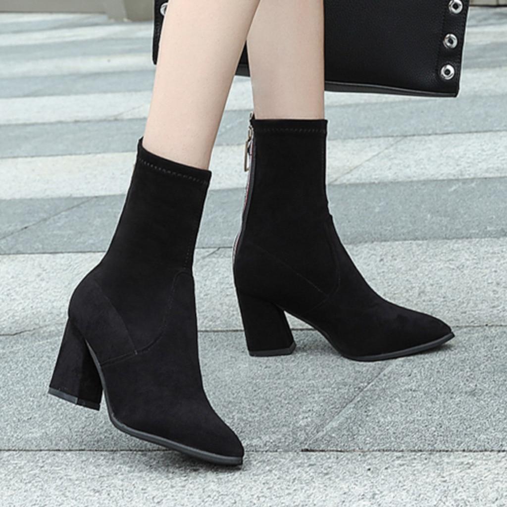 black ankle sock boots mid heel
