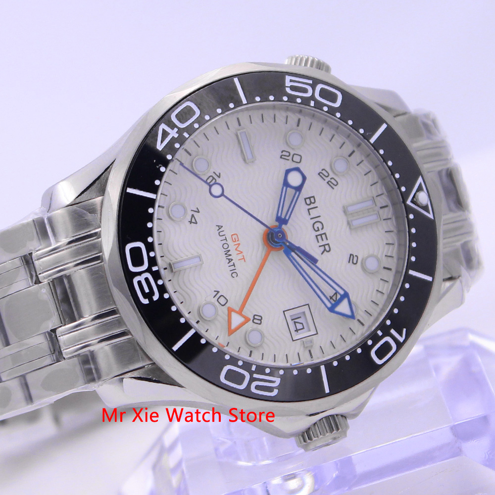 Bliger 41mm Automatic Mechanical Men Watch Sapphire Crystal Stainless Steel Bracelet Luminous Waterproof Calendar GMT Watch Male Mechanical Watches     - title=