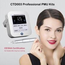 цена на CTD003 Permanent Makeup Tattoo Machine Kit with Needles for eyebrow lip eyeliner Digital Rotary Tattoo Pen Machine gun