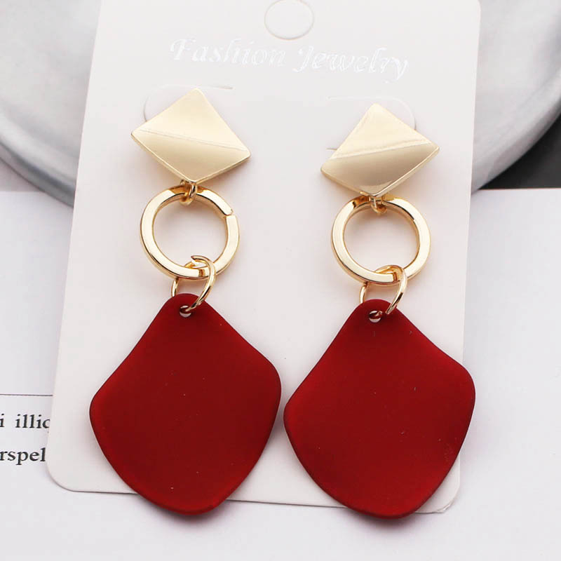 ES775 New Fashion Statement Earrings Green White Red Geometric Drop Earrings For Women Punk Metal Earring Trendy Jewelry Elegant