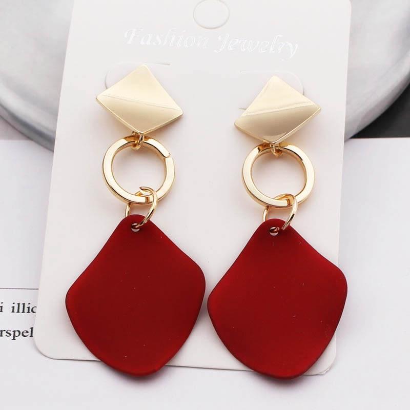 New Fashion Statement Earrings Green White Red Geometric Drop Earrings For Women Punk Metal Earring Trendy Jewelry Elegant